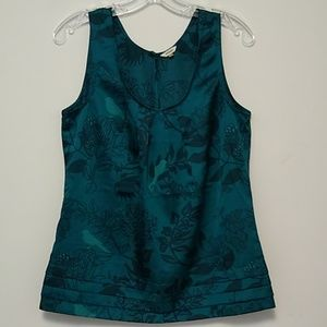 Fossil Green Sleeveless Top Birds Size S